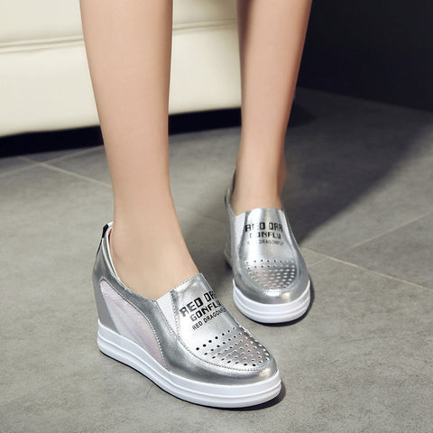 Head Layer Cowhide Pure Color Round Toe Hollow-carved Hidden Heel Loafer Shoes 7 Silver