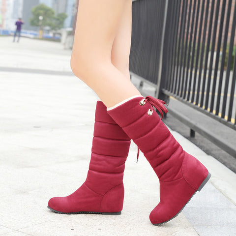 Suede Pure Color Round Toe Back Strap Hidden Heel Mid-calf Boots 9.5 Red