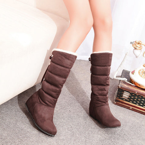 Suede Pure Color Round Toe Back Strap Hidden Heel Mid-calf Boots 8.5 Chocolate