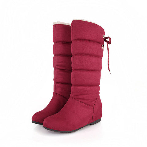 Suede Pure Color Round Toe Back Strap Hidden Heel Mid-calf Boots 9 Red