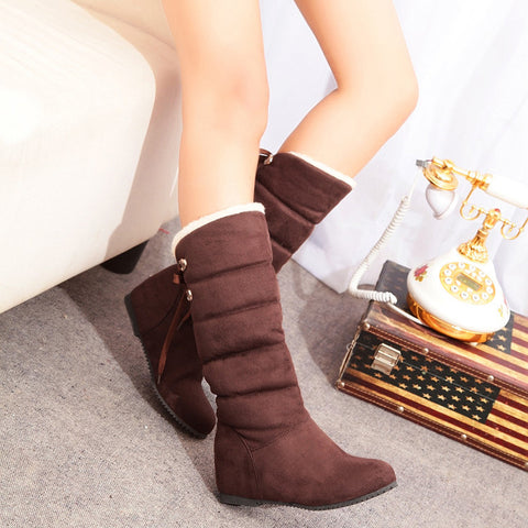 Suede Pure Color Round Toe Back Strap Hidden Heel Mid-calf Boots 9 Chocolate