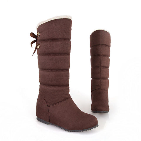Suede Pure Color Round Toe Back Strap Hidden Heel Mid-calf Boots 9.5 Chocolate