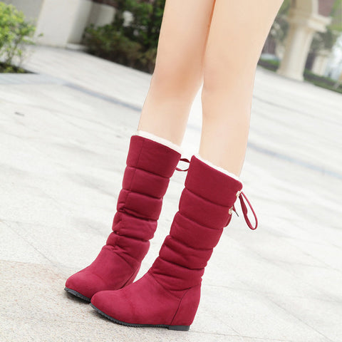Suede Pure Color Round Toe Back Strap Hidden Heel Mid-calf Boots 8.5 Red