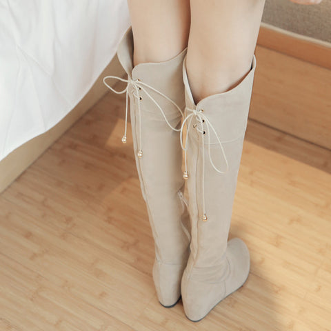 Suede Pure Color Round Toe Hidden Heel Side Zipper Back Strap Over Knee Boots 9.5 Beige