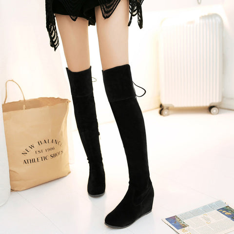 Suede Pure Color Round Toe Hidden Heel Side Zipper Back Strap Over Knee Boots 9 Black
