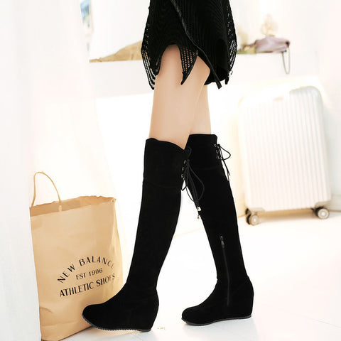 Suede Pure Color Round Toe Hidden Heel Side Zipper Back Strap Over Knee Boots 8.5 Black