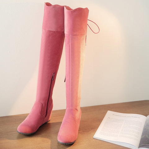 Suede Pure Color Round Toe Hidden Heel Side Zipper Back Strap Over Knee Boots 9 Pink