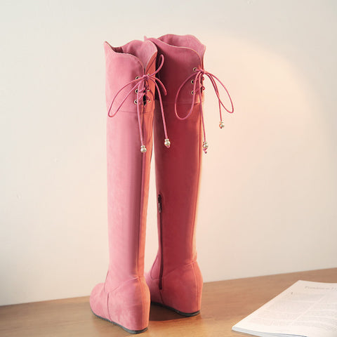 Suede Pure Color Round Toe Hidden Heel Side Zipper Back Strap Over Knee Boots 9.5 Pink