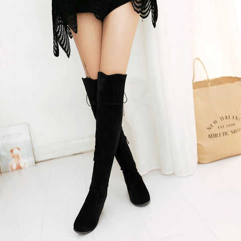 Suede Pure Color Round Toe Hidden Heel Side Zipper Back Strap Over Knee Boots 9.5 Black