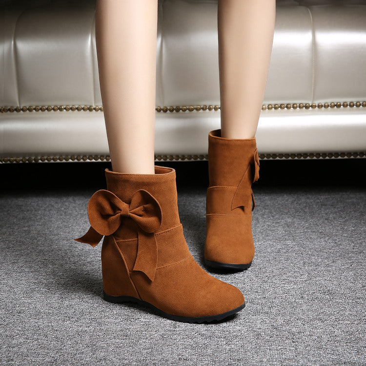 Suede Pure Color Round Toe Bowtie Hidden Heel Short Boots 8.5 Brown