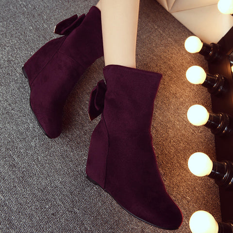Suede Pure Color Round Toe Hidden Heel Back Bowtie Crystal Short Boots 6.5 Wine red