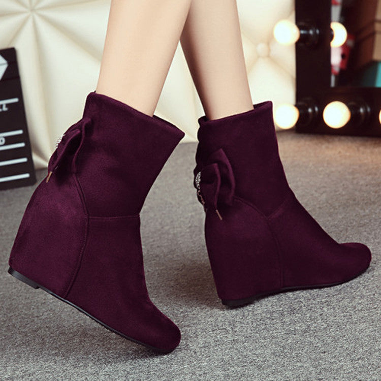 Suede Pure Color Round Toe Hidden Heel Back Bowtie Crystal Short Boots 7 Wine red