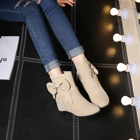 Suede Pure Color Round Toe Bowtie Hidden Heel Short Boots 9 Beige