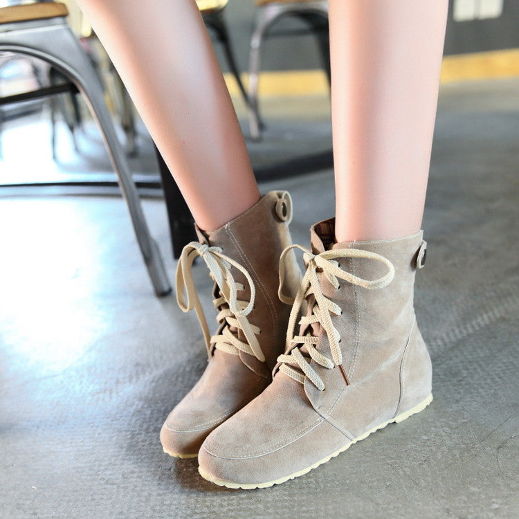 PU Pure Color Round Toe Hidden Heel Lace Up Short Boots 9.5 Beige