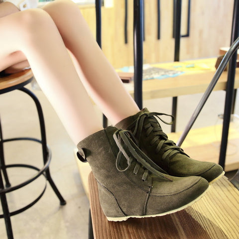 PU Pure Color Round Toe Hidden Heel Lace Up Short Boots 9.5 Dark green