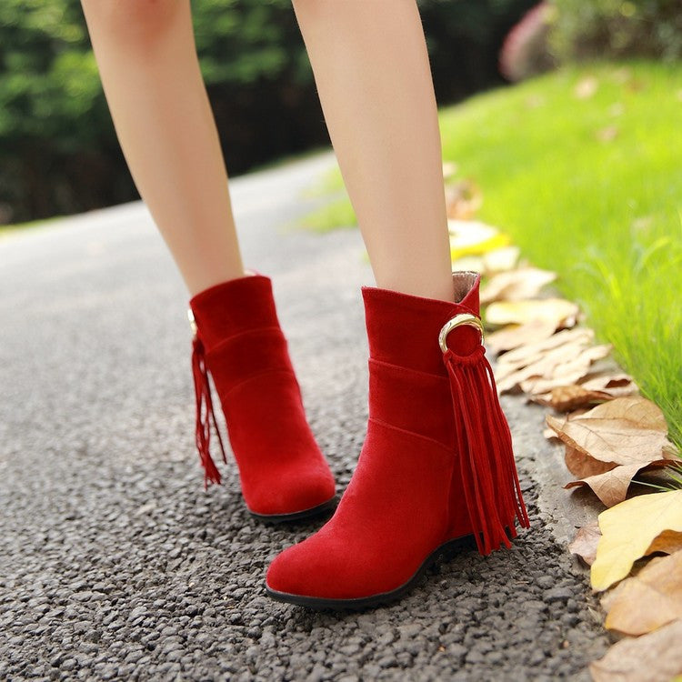Suede Pure Color Round Toe Tassel Hidden Heel Short Boots 8.5 Red