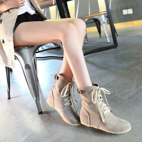 PU Pure Color Round Toe Hidden Heel Lace Up Short Boots 9 Beige