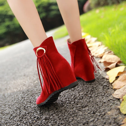 Suede Pure Color Round Toe Tassel Hidden Heel Short Boots 9.5 Red