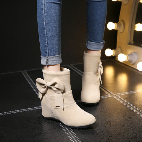 Suede Pure Color Round Toe Bowtie Hidden Heel Short Boots 8.5 Beige