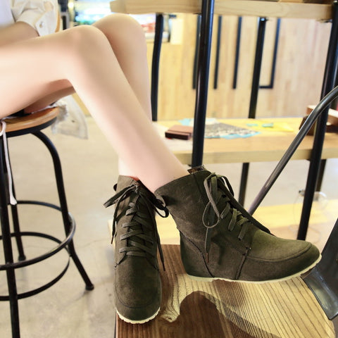 PU Pure Color Round Toe Hidden Heel Lace Up Short Boots 9 Dark green