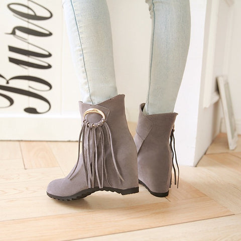 Suede Pure Color Round Toe Tassel Hidden Heel Short Boots 9.5 Gray