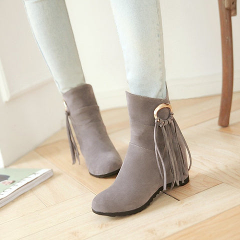 Suede Pure Color Round Toe Tassel Hidden Heel Short Boots 8.5 Gray