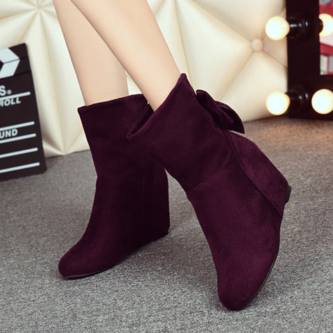 Suede Pure Color Round Toe Hidden Heel Back Bowtie Crystal Short Boots 7.5 Wine red
