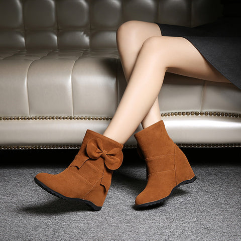 Suede Pure Color Round Toe Bowtie Hidden Heel Short Boots 9 Brown