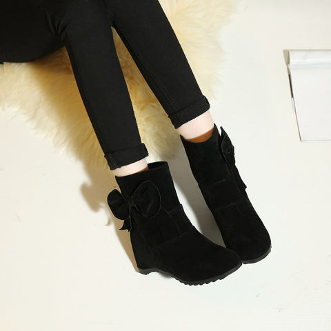 Suede Pure Color Round Toe Bowtie Hidden Heel Short Boots 9 Black