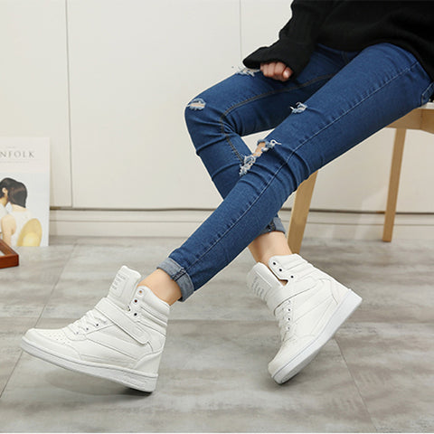 Space Leather Round Toe Lace Up Velcro Hidden Heel Sneakers 7 White