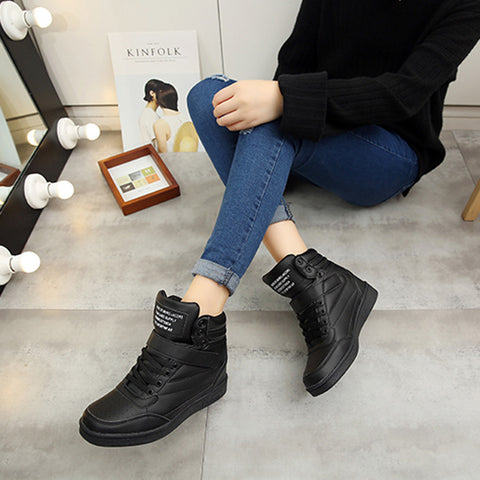 Space Leather Round Toe Lace Up Velcro Hidden Heel Sneakers 7 Black