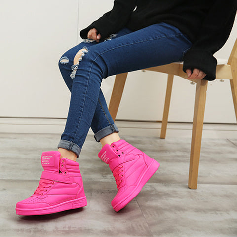 Space Leather Round Toe Lace Up Velcro Hidden Heel Sneakers 7 Deep pink