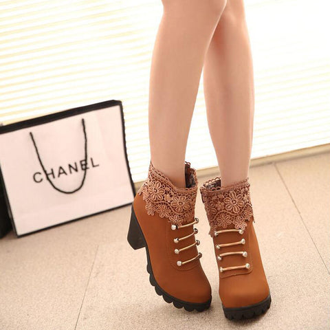 PU Pure Color Round Toe High Block Heel Side Zipper Lace Flower Ankle Boots 8 Brown