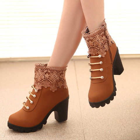 PU Pure Color Round Toe High Block Heel Side Zipper Lace Flower Ankle Boots 7 Brown