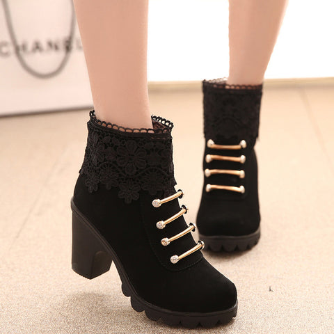 PU Pure Color Round Toe High Block Heel Side Zipper Lace Flower Ankle Boots 7 Black
