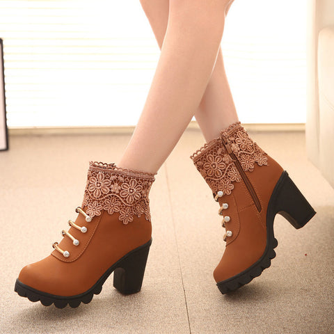 PU Pure Color Round Toe High Block Heel Side Zipper Lace Flower Ankle Boots 7.5 Brown