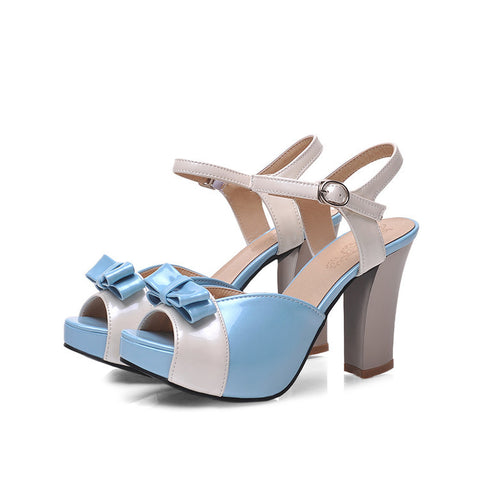 PU Peep-toe Mixed Color Bowtie High Block Heel Ankle Strap Sandals 9.5 Light blue