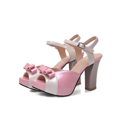 PU Peep-toe Mixed Color Bowtie High Block Heel Ankle Strap Sandals 9.5 Pink