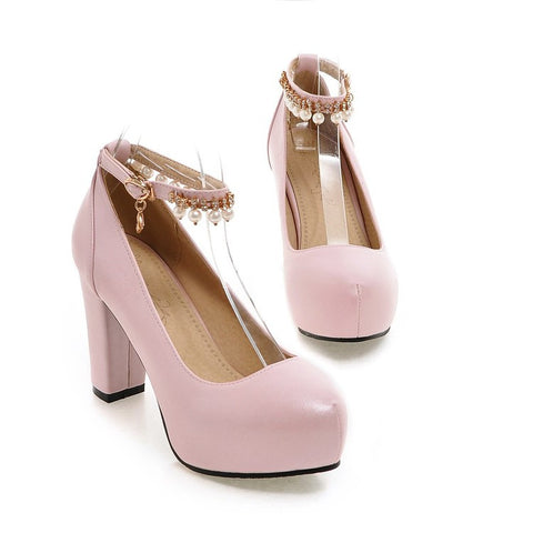 PU Round Toe Pure Color Beads High Block Heel Ankle Strap Pumps 9 Pink
