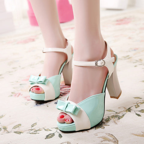 PU Peep-toe Mixed Color Bowtie High Block Heel Ankle Strap Sandals 8.5 Light green