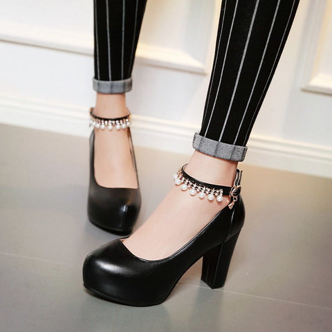 PU Round Toe Pure Color Beads High Block Heel Ankle Strap Pumps 9.5 Black