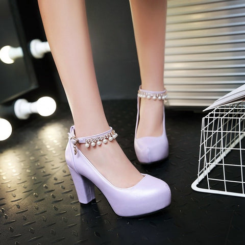 PU Round Toe Pure Color Beads High Block Heel Ankle Strap Pumps 9.5 Light purple