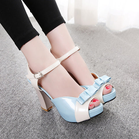 PU Peep-toe Mixed Color Bowtie High Block Heel Ankle Strap Sandals 9 Light blue
