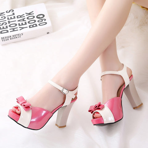 PU Peep-toe Mixed Color Bowtie High Block Heel Ankle Strap Sandals 9 Rose
