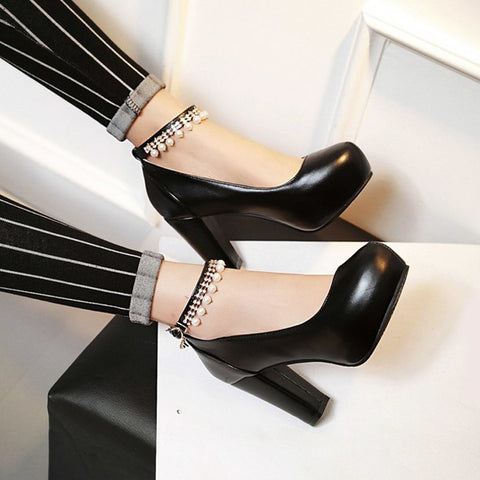 PU Round Toe Pure Color Beads High Block Heel Ankle Strap Pumps 9 Black