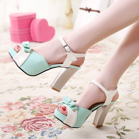 PU Peep-toe Mixed Color Bowtie High Block Heel Ankle Strap Sandals 9 Light green