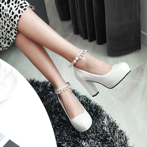 PU Round Toe Pure Color Beads High Block Heel Ankle Strap Pumps 9 White