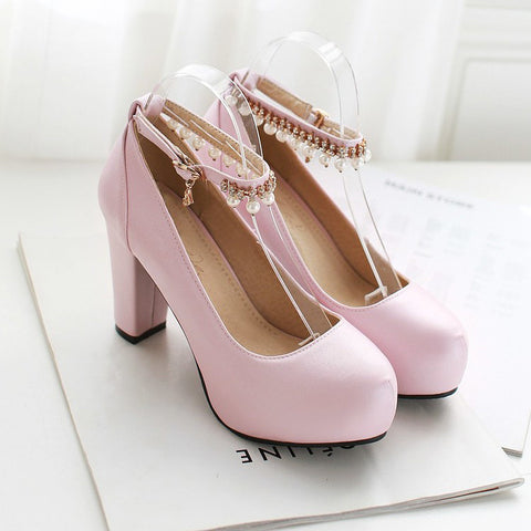 PU Round Toe Pure Color Beads High Block Heel Ankle Strap Pumps 9.5 Pink