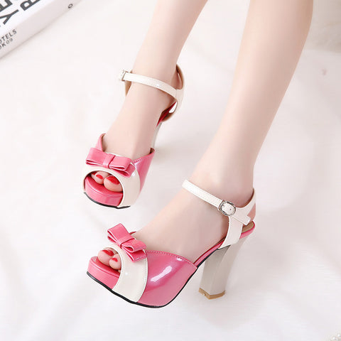 PU Peep-toe Mixed Color Bowtie High Block Heel Ankle Strap Sandals 8.5 Rose