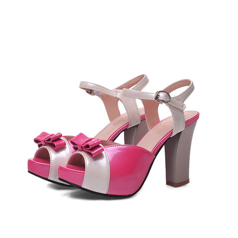 PU Peep-toe Mixed Color Bowtie High Block Heel Ankle Strap Sandals 9.5 Rose